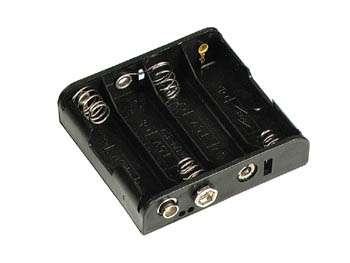 Držák baterií 4xAA, R6 plochý, klips