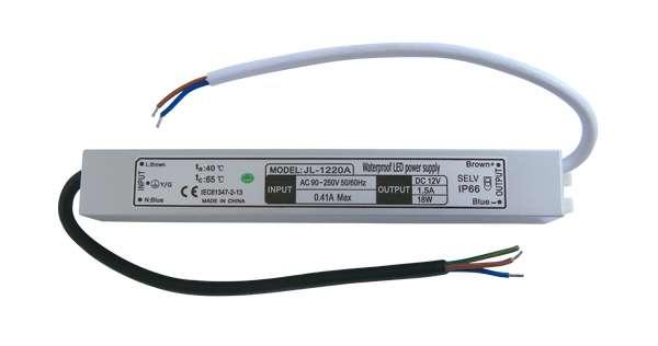 Zdroj spínaný pro LED pásky 90-250Vstř./12V/18W/1,5A voděodolný IP66