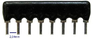SIL8-4x18k rezistorová síť, samostatné rezistory.