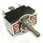 Přepínač páčkový 3pol./6pin (ON)-OFF-(ON) KNC3 250V/10A, aretace na středu, v krajních polohách bez aretace (impuls), změna směru, 2x přepínací kontakt. Vývody: na FASTON 6,3mm