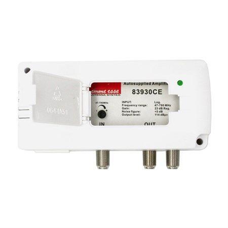 Anténní zesilovač Emme Esse 83930CE aktivní rozbočovač zesílení 2 x 23dB. F-konektory, napájení 230V/AC, regulace zisku