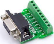 Konektor CANON 9pin zásuvka 2-řadá DS09ZK na descse pl. spoje se svorkovnicí