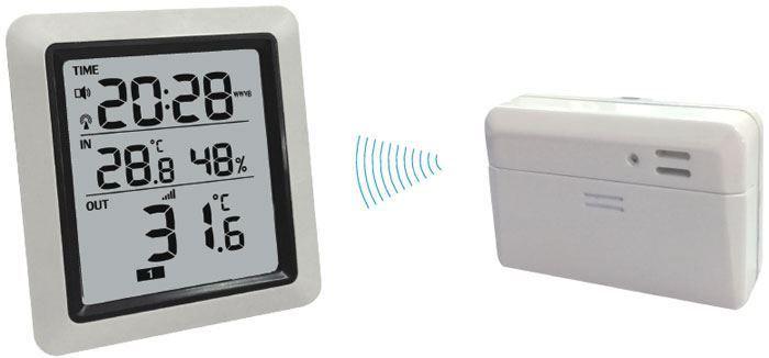 Digitální bezdrátový Teploměr WH0280 433MHz venkovní čidlo, vnitřní teplota –9,9°C až +60°C, vnější teplota –40°C až +60°C, ±1% s vlhkoměrem a hodinami