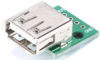 USB-A, zdířka na plošném spoji