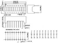 LED displej bargraf H2R3Y4P, 10 nezávislých segmentů, 1× modrý, 4× zelený, 3× žlutý, 2× červený