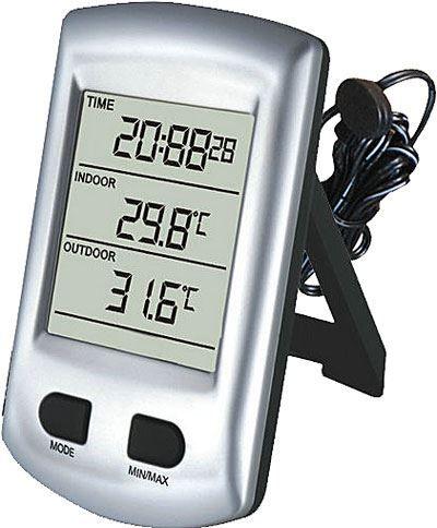 Teploměr IN/OUT+hodiny DCF WH0320 řízené signálem DCF, teplotní sonda na káblíku 3m