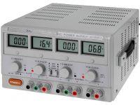 Zdroj laboratorní HF3003D-3 stolní 2x0-30VDC/0-3A + 5VDC/3A plynule regulovatelný 2×0–30V/2×0–3A, LCD displej