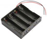 Pouzdro-držák na baterie MR 18650-4A , články 4; Vývody-vodiče; Barva černá