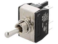 Přepínač vypinač páčkový 3pol./6pin (ON)-OFF-(ON) 250V/10A na fastony
