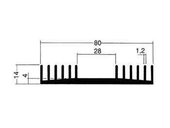 Chladič typ CH74, pro 2xTO3, 75x80x14mm, 4°C/W