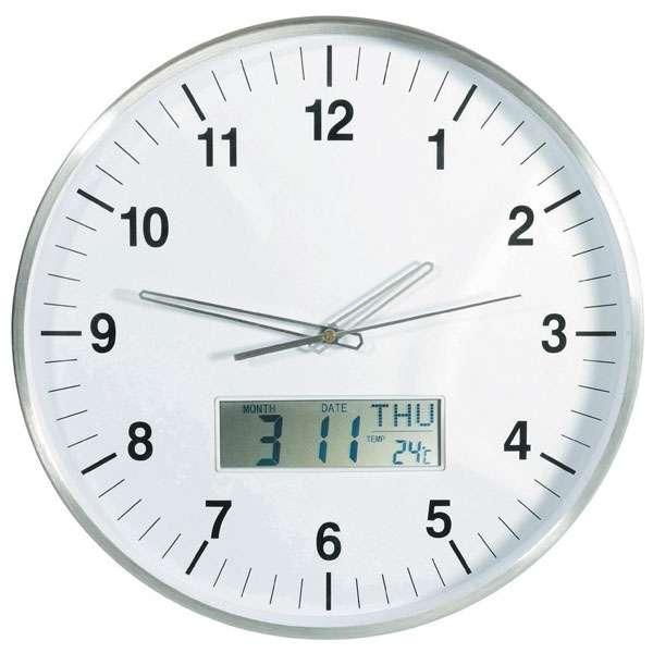 Hodiny VELKÉ analogové DCF Radiové ø 35cm s kalendářem a teploměrem, řízený čas