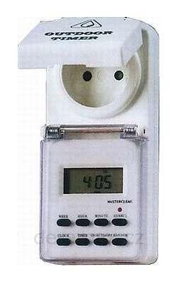 Spínací hodiny digitální - týdenní, (7-denní) venkovní, Časový spínač - Časovač tydenní s vypínačem - Programovatelná zásuvka