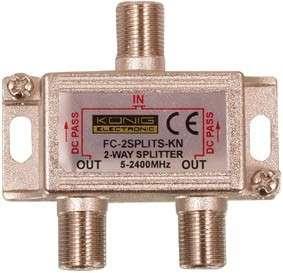 Rozbočovač antenní/satelitní 1x F konektor - vstup / 2x F konektor - výstup, feritový F2400, průchozí pro napájení, kovové pozinkované provedení