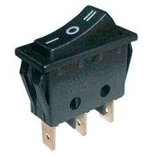 Přepínač vypinač kolébkový (ON)-OFF-(ON) 250V/15A , 3polohy, aretace ve středové poloze, 3piny na fastony černý